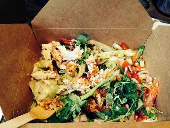 The Urban Shed: Coconut satay chicken salad box. Delicious and so reasonably priced!