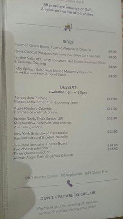 Mercure Grosvenor Hotel : Room service menu