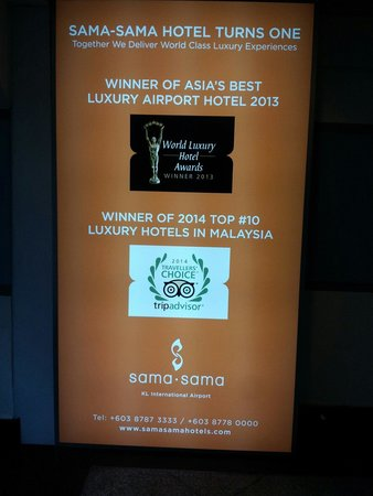 Sama-Sama Hotel KL International Airport: Sign board for winner!!!