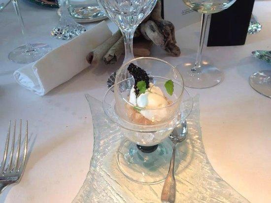 Alexandre - Michel KAYSER : Yaourt glacé infusé au gingembre sur un granité au citron noir d'Iran