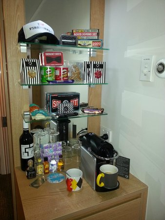 The quirky items of QT Canberra's room's Mini Bar