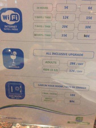Plazamar Serenity Resort: Price list on arrival
