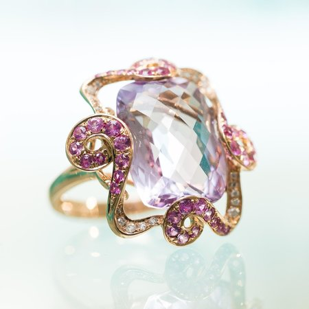 Davidrose Jewelry: Cocktail Ring: Our Rose Gold With Amethyst & Pink Sapphires