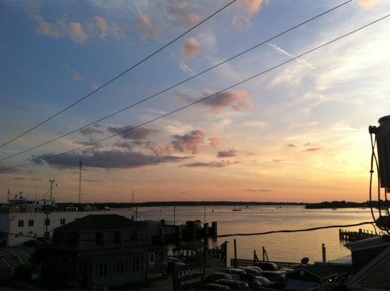 Woods Hole Inn : From the deck of the Penzance room, sunset over Great Harbor.