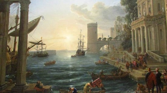 Galería Nacional: Embarkation of The Queen of Sheba, painted in 1648, fantastic colours and use of light.