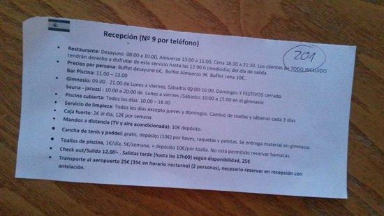 Rubimar Suite ApartHotel: Normas del hotel: NO limpian a diario!!!!  y cobran fianza por todo!!!