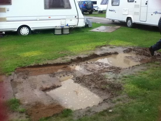 Manor Park Holiday Park - Park Resorts: Water logged pitch! The water is where the awning is supposed to be.