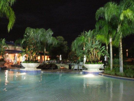 Hilton Orlando: pool at night