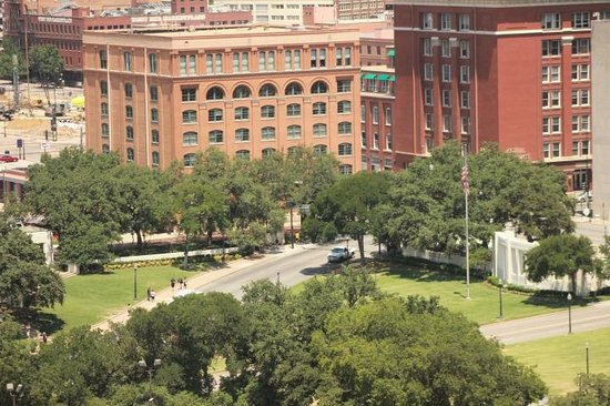 Dealey Plaza National Historic Landmark District: Book Depository and Dealey Plaza from our Hotel
