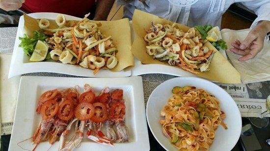 Catalana di crostacei - Tagliatelle gamberetti e zucchine (x celiaci) - Fritto misto