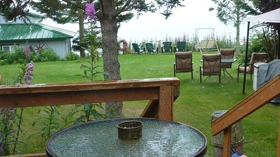 The Alaska Beach House: View across Kachemak Bay on a cloudy/rainy day