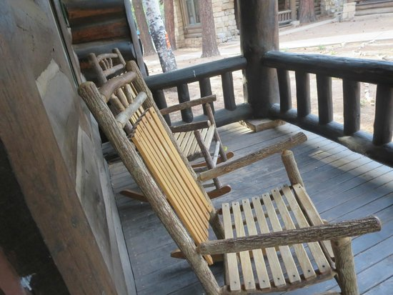 Grand Canyon North Rim: rocking chair on porch of western cabin