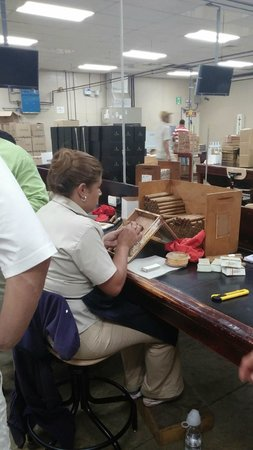 La Aurora Cigar Factory: this lady was packaging the cigars