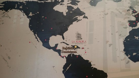 La Aurora Cigar Factory: this is a map of the Aurora company footprint