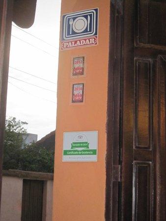 Restaurante San Jose: inkom met bordje van Tripadvisor