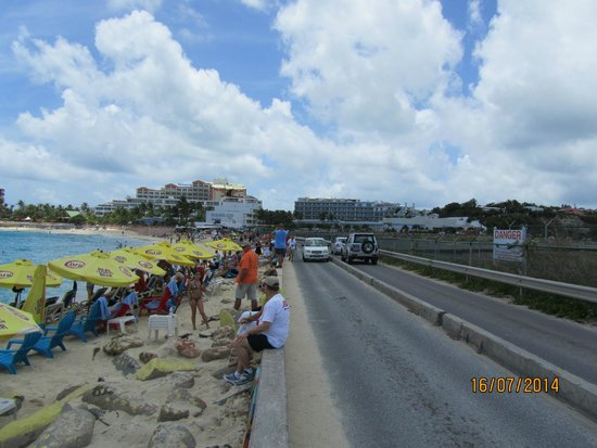Airstrip just across the street from the beach at Maho Beach,
