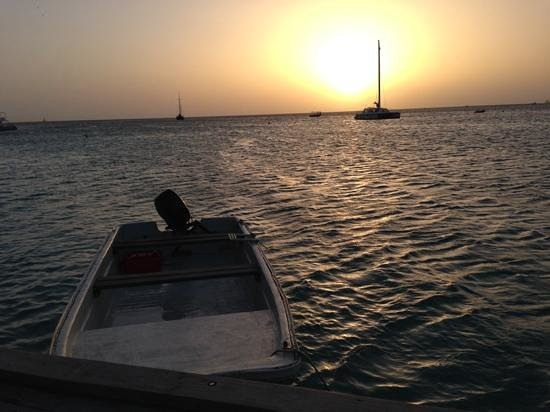 Hotel Riu Palace Aruba: view from pier bar at sunset
