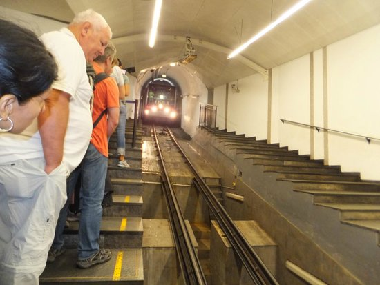 Mount Floyen and the Funicular (Floibanen): The train arrives