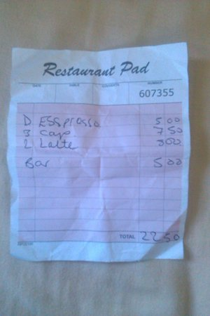 Burton Bradstock, UK: My coffee bill. Five coffees 22,50 Pounds! Rip off