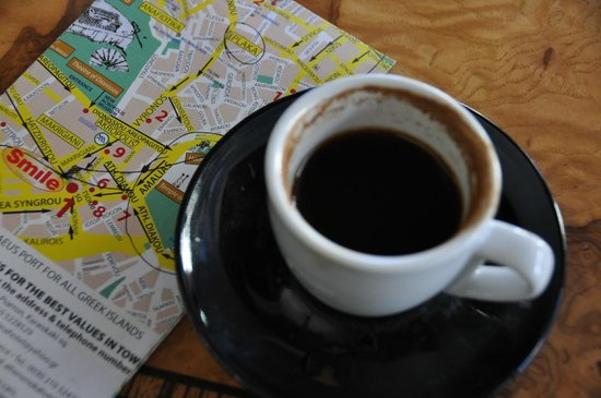 Athens Custom Taxi Tours: Planning the tour with Dimitrios with a cup of wonderful Greek coffee