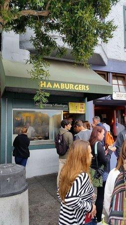 Hamburgers: The line outside.