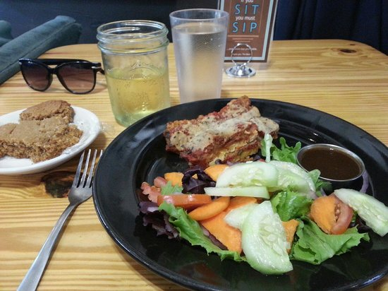 Sentient Bean: Tofu parmesan, hard cider, and a coconut cookie - all vegan, all delicious.