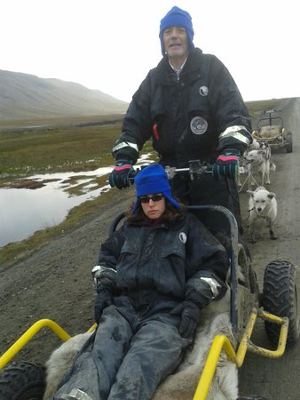 """Svalbard Husky : At the """"controls"""" on the dirt road to the husky farm"""