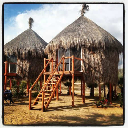 Mayan Village Resort: The two raised palapas at the back of the property.