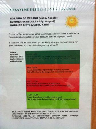 Ibis Bilbao Centro: Nota informativa desayunos