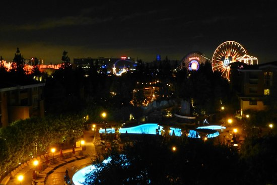 Disney's Grand Californian Hotel & Spa: View from concierge level room 6308 (night time)
