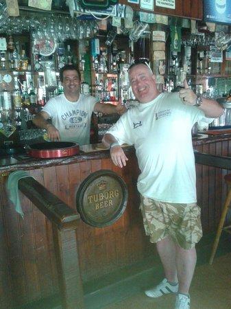 carina sports bar rest.: Chris and myself carina sports bar on duty