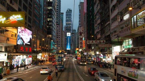 Hong Kong Tramways (Ding Ding): Blick aus dem oberen Abteil