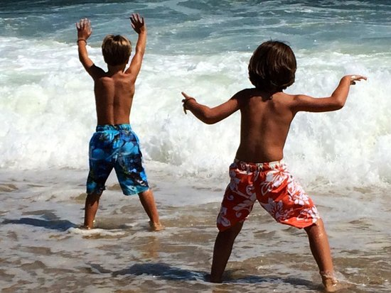 Point Pleasant Beach: Grand kids frolicking in sea foam