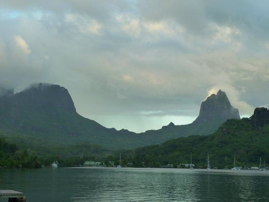 "Club Bali Hai Moorea Hotel : Just a shot of Bali Hai Mountain (on right) from ""South Pacific"""