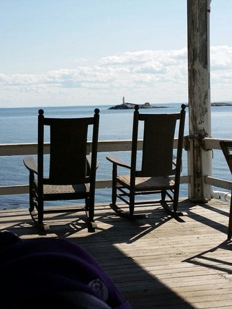 Isles Of Shoals Steamship Company: Rocking Chairs On Porch At The Hotel On  The Isles