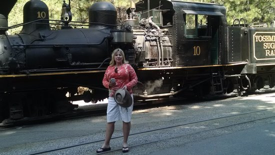 Yosemite Mountain Sugar Pine Railroad: Deb in front of Mountain Sugar Pine Train!