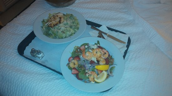 Courtyard Nashua: Room Service:  Chicken Ceasar Salad and Spinach Salad with Shrimp