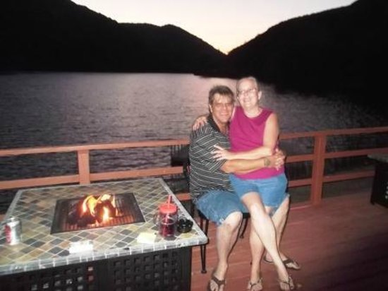 The Lodge at Blue Lakes: Romantic table for 2 with a fire : )