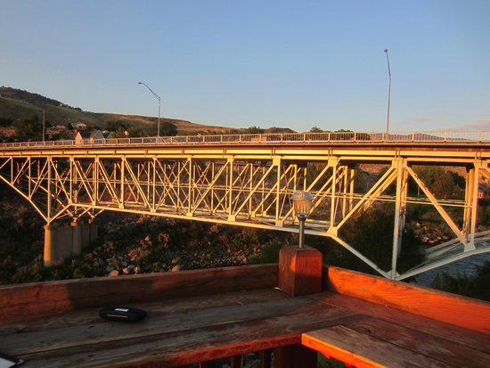 Mammoth Hot Springs Hotel & Cabins: Bridge in Gardiner, view from restaurant - Iron Horse Grill