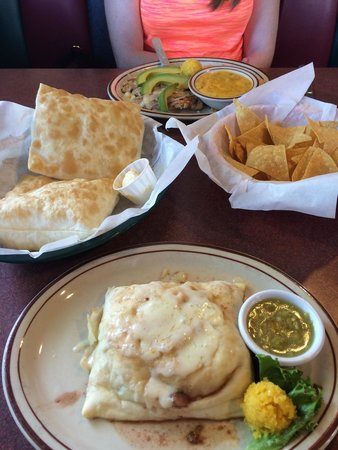 Sopaipilla Factory: Pictures is the ground beef stuffed sopiapilla with a delicious sweet corn cake and the grilled