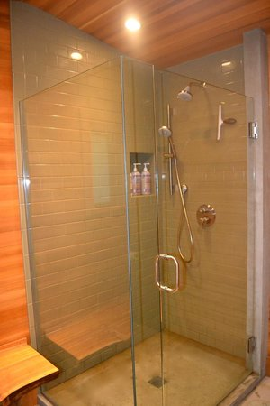 Treehouse Point: Comfortable updated shower