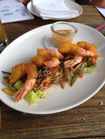 riva : tempura shrimp on a bed of salad