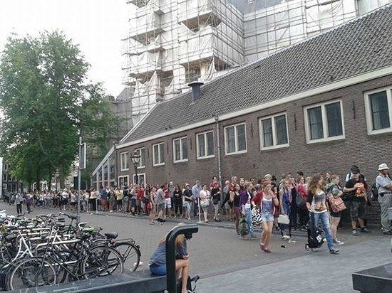 Image result for Images of queues in to the Anne fRank House