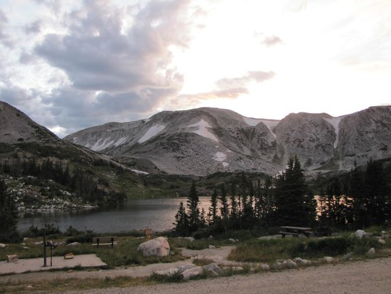 "Mountain View Historic Hotel: Sunset, Looking over Lewis Lake to the ""saddle' and Medicine Bow Peak"