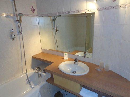 Hotel A l'Arbre Vert: Lavabo et baignoire