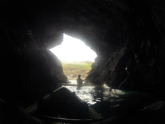 Cornish Coast  Adventures: Cool cave in Port Quin harbour