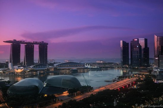 Swissotel The Stamford Singapore: Twilight view from the balcony