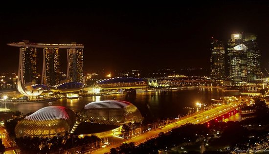 Swissotel The Stamford: Night view from the balcony