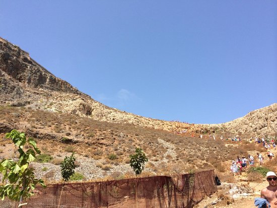 Cretan Daily Cruises : Hikers descending as we start to ascend.