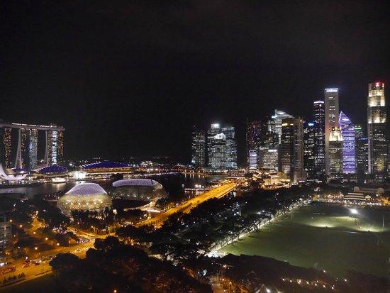 View at night from Executive Club room Fairmont Singapore